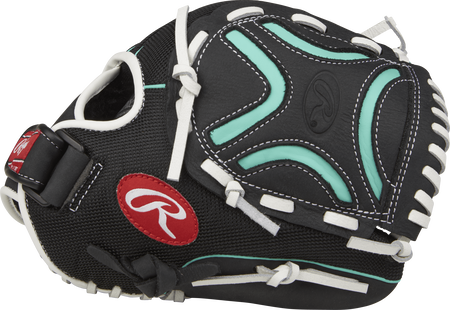 Thumb view of a black CL110BMT Champion Lite youth 11-inch infield glove with a black/mint Decorative X web