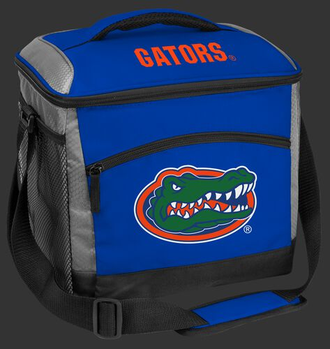 A blue Florida Gators 24 can soft sided cooler with screen printed team logos - SKU: 10203022111