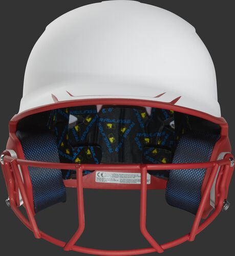Front of a white/scarlet Mach fastpitch softball helmet with a scarlet mask - SKU: MSB13S-W/S