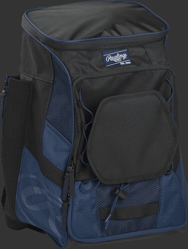 Front right of a navy/black R600 Rawlings backpack without bats