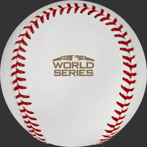 The 2018 MLB World Series logo stamped on the WSBB18DL 2018 World Series dueling baseball