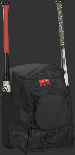 Front right of a black R600 Rawlings players bag with two bats and Oval R printed on the bottom panel