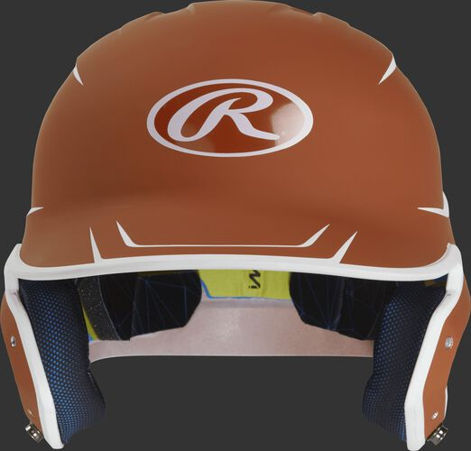 Front of a matte orange/white MACH senior size batting helmet