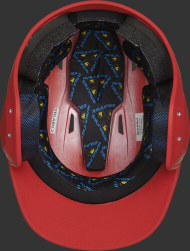 Inside of a MCH07A Mach Alpha helmet with black foam padding