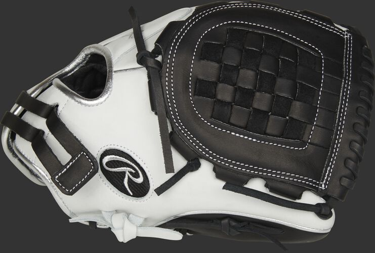 Thumb of a white RLA120-3BP Liberty Advanced Color Series 12-inch infield/pitcher's glove with a black Basket web