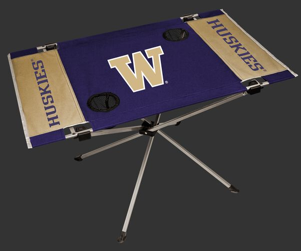 NCAA Washington Huskies Endzone table featuring team colors and team logos and two cup holders SKU #04053108111