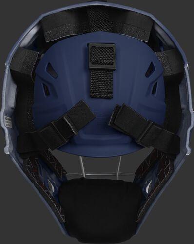Adjustable back plate of a navy/scarlet CHV27J Velo 2.0 hockey style catcher's mask
