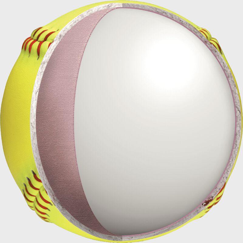 Center cork of a Rawlings fastpitch batting practice softball - SKU: RFPBP12SY