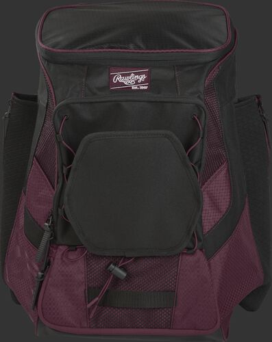 Front of a maroon/black R600 Players team backpack