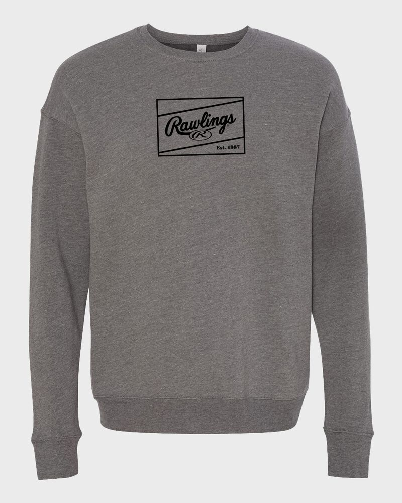 A gray Rawlings crew neck fleece sweatshirt with a black Rawlings patch logo on the chest - SKU: RSGSF-G