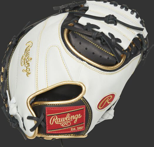 Back of a white ECCM32-23BW Encore catcher's mitt with gold binding/welting