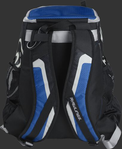 Back of black/royal R500 Players team backpack with black/royal shoulder straps