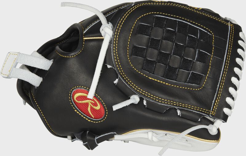 PRO120SB-3BW Heart of the Hide 12-inch fastpitch ouftield/pitcher's glove with a black thumb, white trim and black Basket web