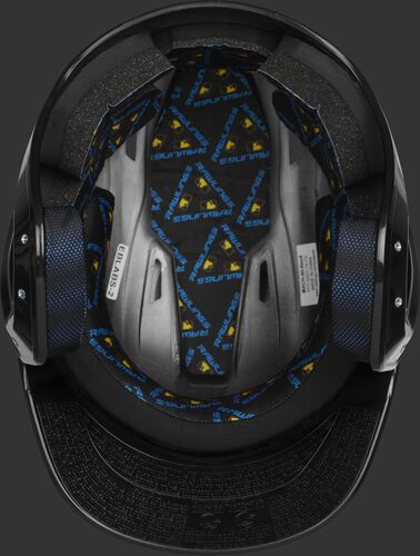 Inside of a black MCH01A Mach batting helmet with black foam padding