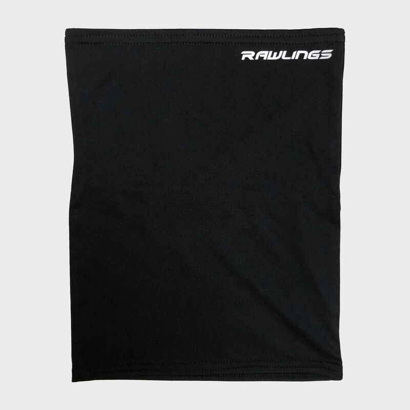 A black Rawlings neck gaiter with a white Rawlings logo in the top right - SKU: RMSKNG-BLK