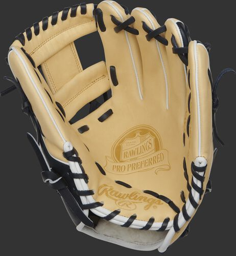 Palm view of a PROSNP4-2CN 11.5-inch Pro Preferred infield glove with a camel palm and navy laces