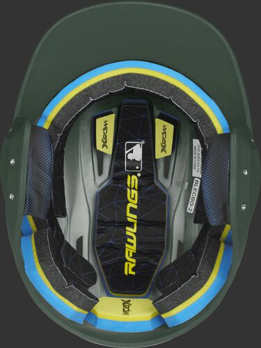 Inside of a Rawlings MACH baseball helmet with IMPAX durable foam padding