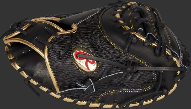 Thumb of a Gameday 57 Series Yadier Molina Heart of the Hide catcher's mitt with a gold Oval-R - SKU: RSGPROYM4G