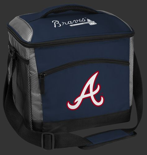 A navy Atlanta Braves 24 can soft sided cooler with screen printed team logos - SKU: 10200005111