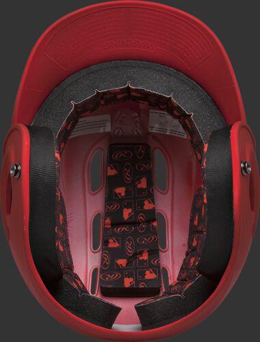 Inside padding of a scarlet R16MS senior size Velo batting helmet