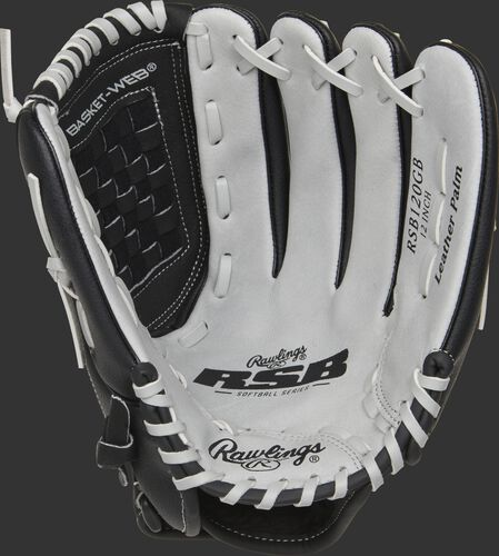 RSB120GB Rawlings softball infield/pitcher's glove with a grey palm and grey laces