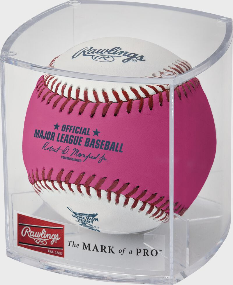 A pink/white 2021 MLB Home Run Derby money ball in a clear display cube - SKU: RSGEA-ROMLBHR21-R