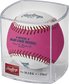 A pink/white 2021 MLB Home Run Derby money ball in a clear display cube - SKU: RSGEA-ROMLBHR21-R image number null