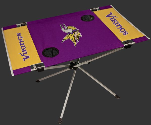 Rawlings Gold and Purple NFL Minnesota Vikings Endzone Table With Two Cup Holders, Team Logo, and Team Name SKU #03391075111