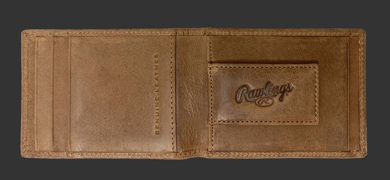 Inside of a tan Rawlings American story front pocket wallet with a magnetic money clip on the right side - SKU: RPW003-204