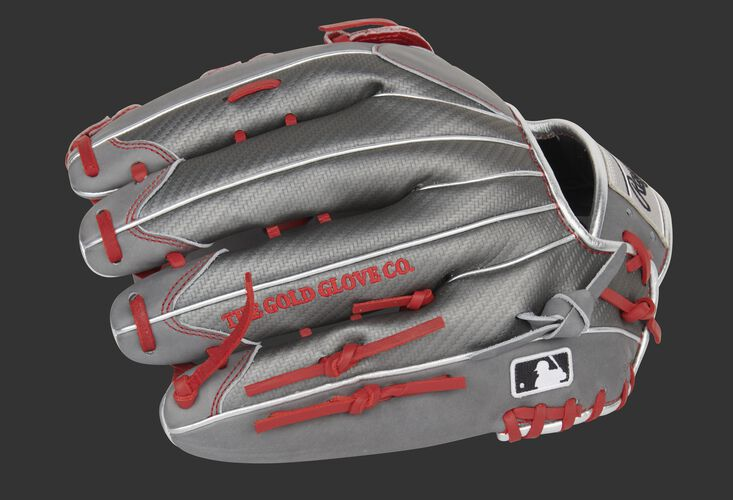 Hyper Shell finger backs of an exclusive Heart of the Hide outfield glove with the MLB logo on the pinkie - SKU: PRO3039-6GCFS