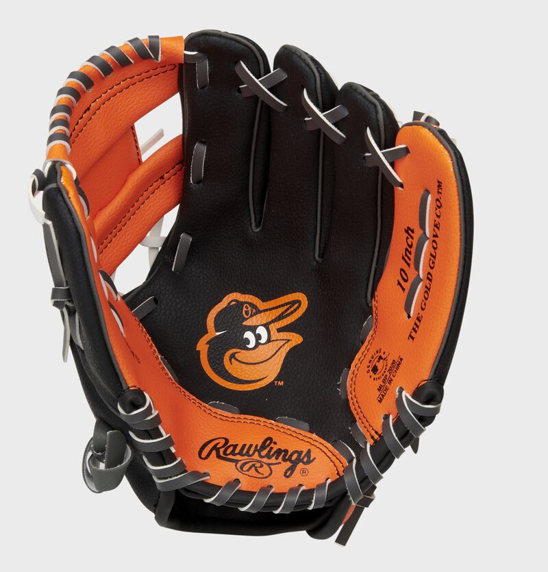 A black/orange Rawlings Baltimore Orioles youth glove with the Orioles logo stamped in the palm - SKU: 22000018111