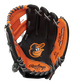 A black/orange Rawlings Baltimore Orioles youth glove with the Orioles logo stamped in the palm - SKU: 22000018111 image number null
