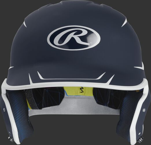 Front of a matte navy/white MACH senior size batting helmet