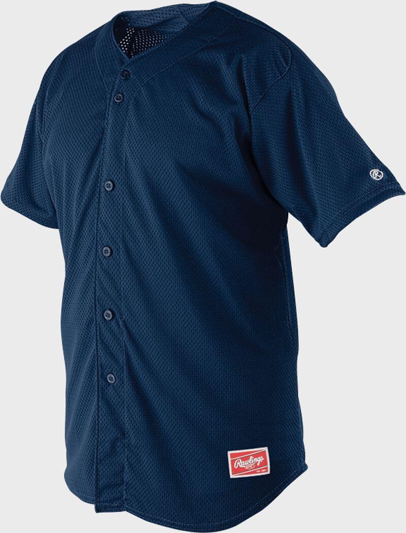 Front of Rawlings Navy Adult Short Sleeve Jersey  - SKU #RBJ167