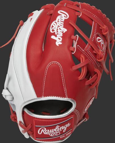 Scarlet/white back of a Heart of the Hide R2G I-web glove with a red Rawlings patch - SKU: PROR204U-2SW