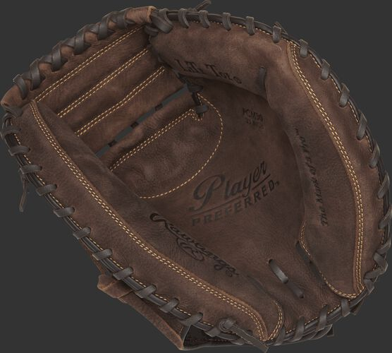 PCM30 Rawlings Player Preferred recreational baseball/softball catcher's mitt with a brown palm and brown laces