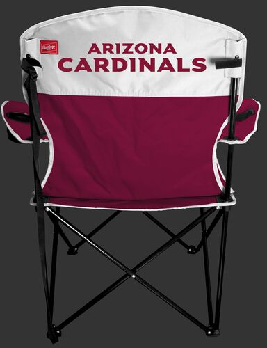 Back of Rawlings Red and White NFL Arizona Cardinals Lineman Chair With Team Name SKU #31021081111