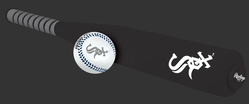 Side of Rawlings Chicago White Sox Foam Bat and Ball Set in Team Colors With Team Name and Logo On Front SKU #01860029111