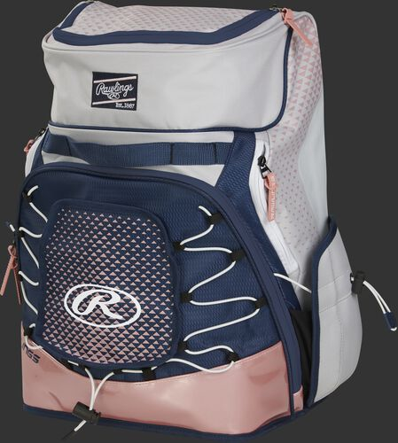Front left of a white/navy/rose gold R800 softball backpack