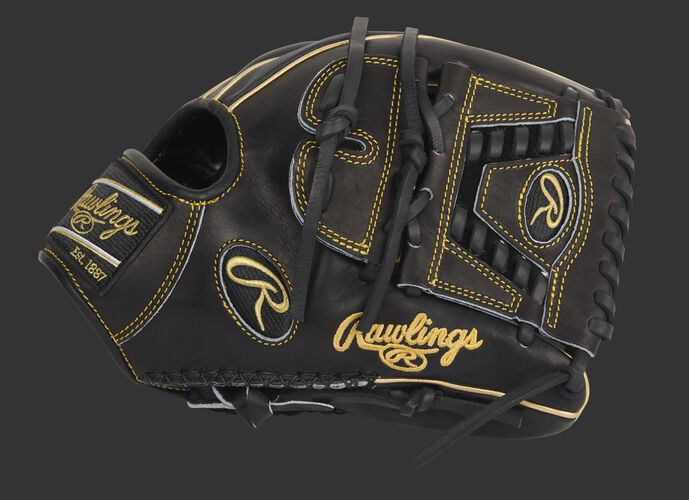 Black thumb of an exclusive Pro Preferred Speed Shell infield/pitcher's glove with a laced 2-piece solid web - SKU: PROS205-30BG