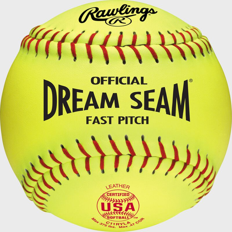 A yellow C11RYLA USA NFHS official 11-inch softball with red stitching
