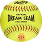 A yellow C11RYLA USA NFHS official 11-inch softball with red stitching image number null