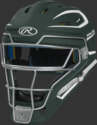 CHMACH dark green Mach adult catcher's helmet with white trim
