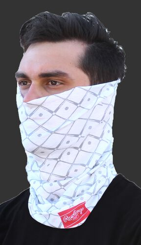 A guy wearing a white Rawlings adult multi-functional head and face cover around his mouth and nose - SKU: RC40005-100