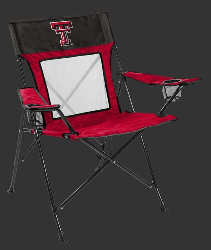 Front of Rawlings Scarlet and Grey NCAA Texas Tech Red Raiders Game Changer Chair With Team Logo SKU #00643063111