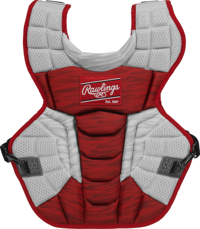 A scarlet/white CPV2N Rawlings Velo 2.0 adult chest protector with a striped pattern