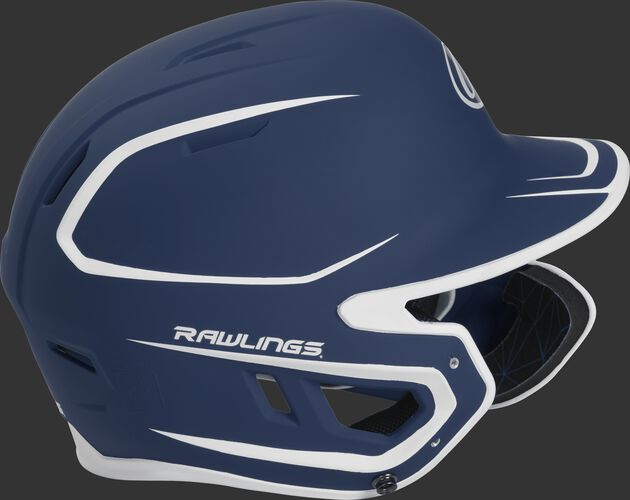 Right side of a MACHEXTR senior Rawlings batting helmet with a two-tone matte navy/white shell