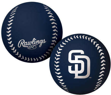A navy San Diego Padres Big Fly rubber bounce ball