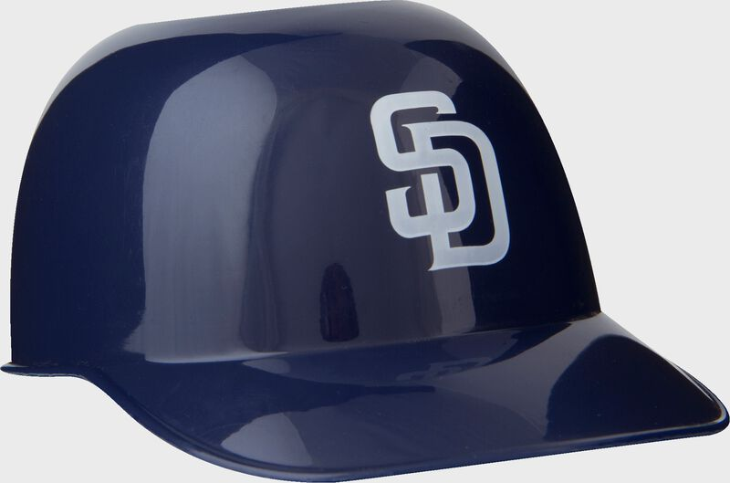Front of Rawlings Navy Blue MLB San Diego Padres Snack Size Helmets With Team Logo SKU #01950019121