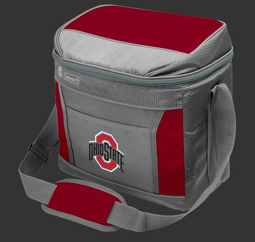 A grey NCAA Ohio State Buckeyes 16 can cooler with the team logo on the front